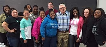Students with guest speaker, Joseph Sheldon, MSW, LSW, Executive Director, Chester County Assistance Office