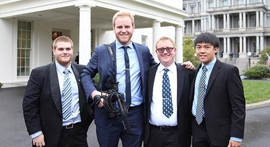 Photo of Matthew Popo, Patrick Fahy, Sean McDonald, and Andrew Pham at the White House.