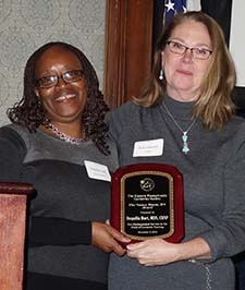 Photo of Dee Hurt receving the Eastern PA Geriatric Society Nancy Tatum Award for distinguished geriatric service