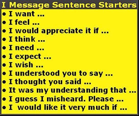 I Message Sentence Starters