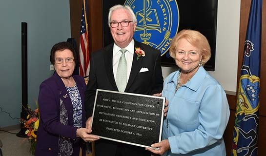 Dr. Rosalie Mirenda poses with John and Joan Mullen during the dedication ceremony of the Mullen Communication Center