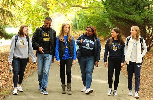 Neumann students walking